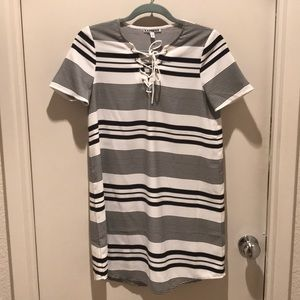 Express striped lace up T-shirt style dress